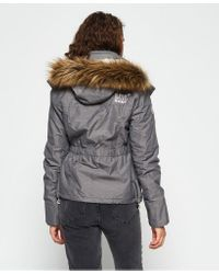 Superdry Gray Hooded Fur Sherpa Wind Attacker Jacket
