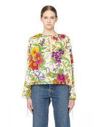 Блузка С Цветочным Принтом Balenciaga, цвет: Multicolor
