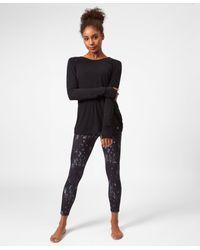 Sweaty Betty Black Medina Drape Long Sleeve Yoga Top