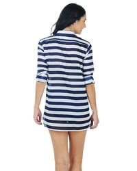 Anne Cole - Blue Rugby Stripe Boyfriend Shirt Cover Up - Lyst