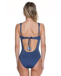 Becca - Blue Quest Hand Weaving Plunge One Piece Swimsuit - Lyst