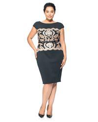 Tadashi Shoji Black Neoprene And Paillette Lace Dress - Plus Size