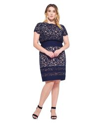 a22ecefbdee Lyst - Tadashi Shoji Blouson Waist Embroidered Lace Dress - Plus ...