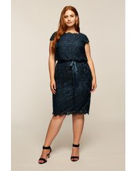 Tadashi Shoji Blue Embroidered Lace Blouson Waist Dress - Plus Size
