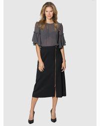 Roman Black Zipper Detailed Midi Skirt