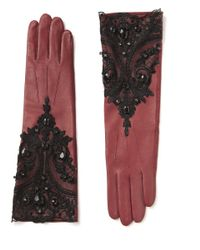 Roman Multicolor Embroidered Leather Gloves