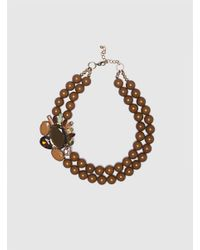 Roman Metallic Double Layer Necklace With Beads