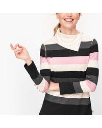 Talbots Multicolor Split Neck Stripe Pullover