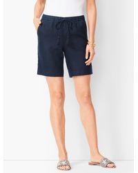 Talbots Blue Drawstring Washed-linen Shorts