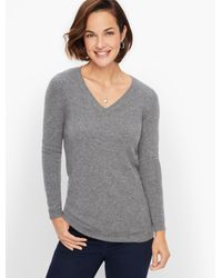 Talbots Gray Cashmere V-neck Sweater