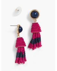 Talbots - Pink Cabochon & Seed-bead Tassel Earrings - Lyst
