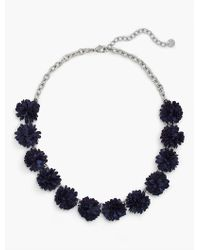 Talbots Blue Fabric-flower Necklace