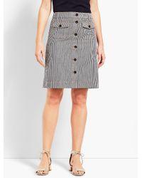 Talbots Gray Railroad Stripe A-line Skirt
