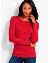 Talbots Red Classic Cable Crewneck Sweater