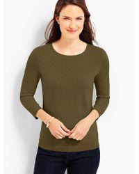 Talbots Green Cashmere Keyhole-back Sweater