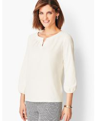 Talbots White Pleated Tee - Solid