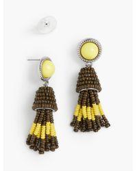 Talbots - Metallic Cabochon & Seed-bead Tassel Earrings - Lyst