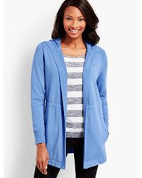 Talbots - Blue Pigment-dyed Terry Cardigan - Lyst