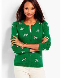 Talbots Green Dalmatians Cardigan Sweater