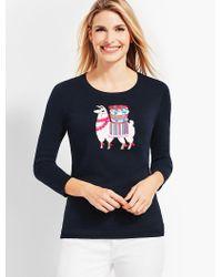 Talbots Blue Llama-embellished Crewneck Sweater