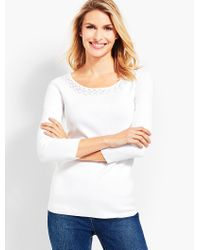Talbots - White Pointelle-trimmed Bateau Sweater - Lyst