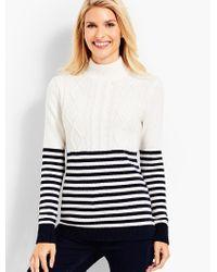 Talbots Multicolor Fisherman Stripe Sweater