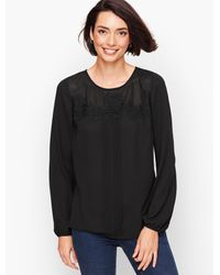 Talbots Black Lace Detail Popover