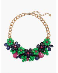 Talbots Green Statement Beaded Flower Necklace