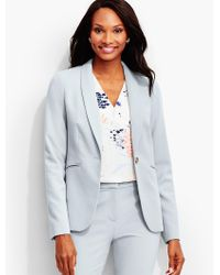 Talbots - Blue Luxe Italian Double-weave Shawl-collar Jacket-newport Collection - Lyst