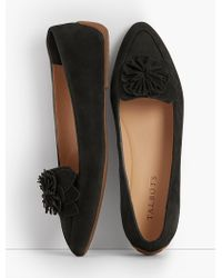 Talbots Black Francesca Flower Driving Moccasins- Kid-suede
