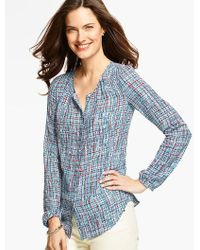 Talbots - Blue Country Tweed Blouse - Lyst