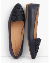 Talbots Blue Francesca Flower-topped Perforated Driving Flats