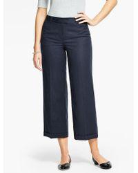 Talbots | Blue Italian Flannel Cuffed Wide-leg Crop | Lyst