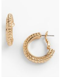 Talbots - Metallic Rope Hoop Earrings - Lyst
