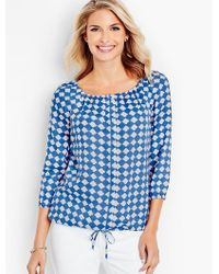 Talbots Blue Gathered-scoopneck Linen Popover-resort Tile Print