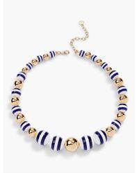 Talbots | Blue Stripe & Gold Bead Necklace | Lyst