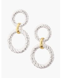 Talbots - Metallic Sterling Silver Textured Link Drop Earrings - Lyst