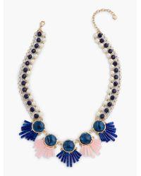 Talbots - Blue Bead Fan Necklace - Lyst