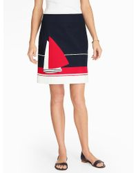 Talbots Red Sailboat Colorblocked A-line Skirt