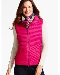 Talbots | Pink Chevron-quilted Puffer Vest | Lyst