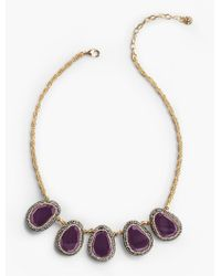 Talbots - Multicolor Pave Bezel Cabochon Necklace - Lyst