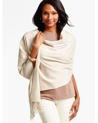 Talbots - Multicolor Fringed Cashmere Waterweave Wrap - Lyst