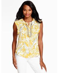 Talbots   Yellow Flutter-sleeve Blouse - Breezy Palms   Lyst