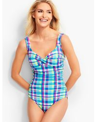 Talbots Blue Barcelo Madras Plaid Miraclesuit®