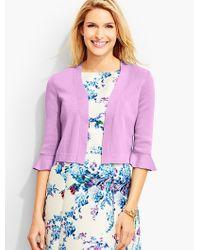 Talbots | Purple Flounced-sleeve Dress Shrug | Lyst