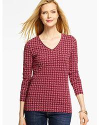 Talbots Red Long-sleeve V-neck Tee - Geo Pinwheels