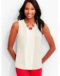 Talbots | White Pintucked Silk Shell | Lyst