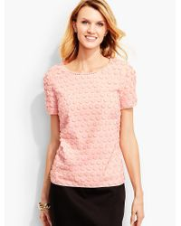 Talbots Pink Fringed Dot & Lace Top