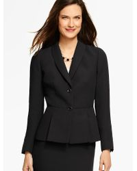 Talbots Black Refined Crepe Pleated Peplum Jacket