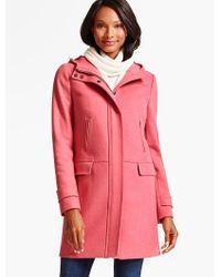 Talbots - Pink Hooded Melton Coat - Lyst